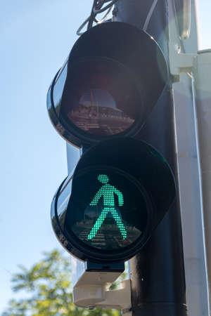 Green pedestrian traffic light at Prague, Czech Republic.