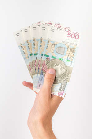 500 PLN banknotes held in hand. Banque d'images