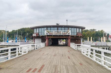 Puck, Poland - September 20, 2020: Pier on Puck Bay.