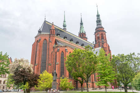 Cathedral of Saint Apostles Peter and Paul in Legnica, Poland. Cathedral from the intersection of Blessed Virgin Mary and Tadeusz Laczynski Streets.