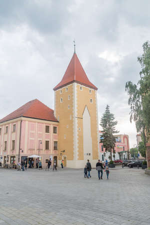 Lubin, Poland - June 1, 2021: Gothic 14th century Glogow Tower at cloudy day.