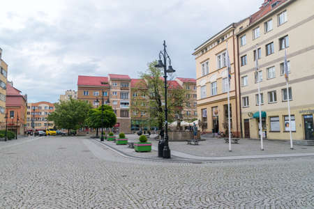 Legnica, Poland - June 1, 2021: Market square in Legnica.