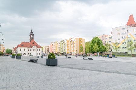 Lubin, Poland - June 1, 2021: Market square in Lubin. Editorial
