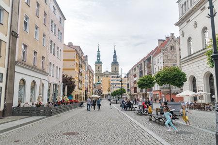 Legnica, Poland - June 1, 2021: Legnica market square at cloudy day. Editorial
