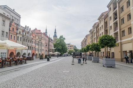 Legnica, Poland - June 1, 2021: Pedestrian market street, market square at cloudy day.