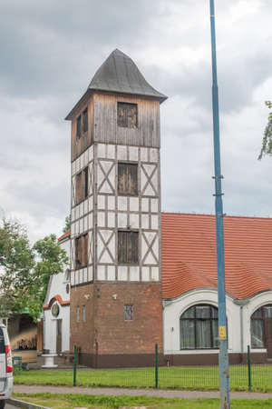 Lubin, Poland - June 1, 2021: Building of the former fire station in Lubin.