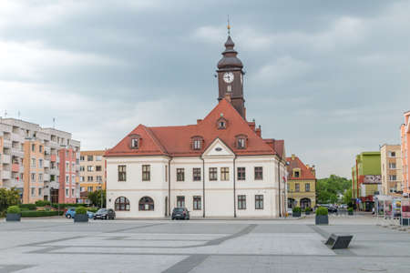 Lubin, Poland - June 1, 2021: Town hall of Lubin, built in 1768 in Baroque style, rebuilt in the 19th century.
