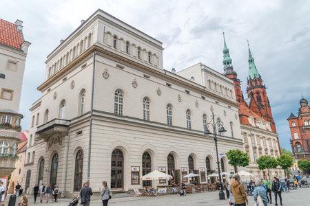 Legnica, Poland - June 1, 2021: Helena Modrzejewska Theater building on the Legnica market square.