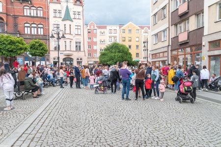 Legnica, Poland - June 1, 2021: Children's Day at Legnica market square. Editorial