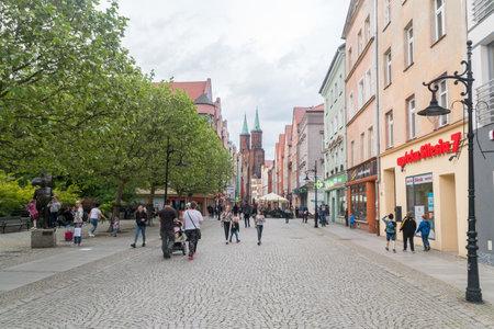 Legnica, Poland - June 1, 2021: Blessed Virgin Mary (Polish: Najswietszej Maryi Panny) street.