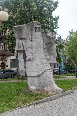 Legnica, Poland - June 1, 2021: Sculpture of the Metallurgist.