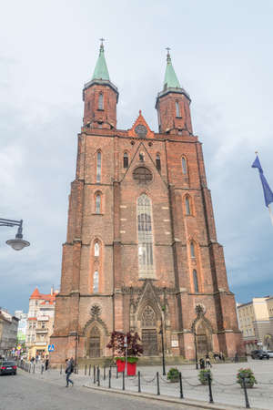 Legnica, Poland - June 1, 2021: Saint Mary Lutheran church at cloudy day.