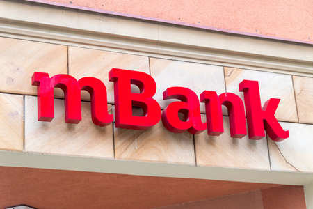 Legnica, Poland - June 1, 2021: Red logo of one of the largest bank mBank in Poland.