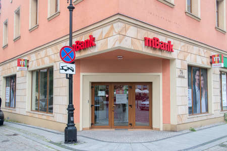 Legnica, Poland - June 1, 2021: Branch one of largest bank mBank in Poland.