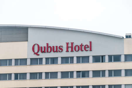 Legnica, Poland - June 1, 2021: Logo and sign of Hotel Qubus. Editorial