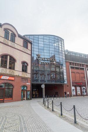 Legnica, Poland - June 1, 2021: Entrance to Galeria Piastow shopping mall.