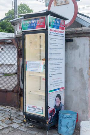 Legnica, Poland - June 1, 2021: Fridge with food for poor people.