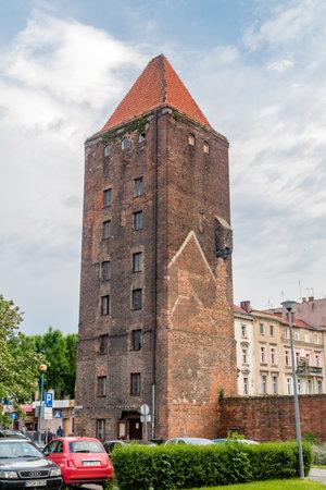 Legnica, Poland - June 1, 2021: Tower of the Chojnowska Gate in Legnica.