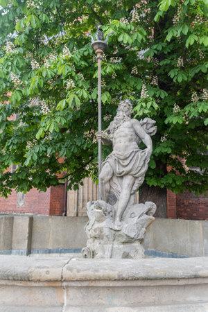 Legnica, Poland - June 1, 2021: Neptune's Fountain statue. Editorial