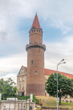 Legnica, Poland - June 1, 2021: Medieval round defense tower of Gothic Piast Castle (Zamek Piastowski).