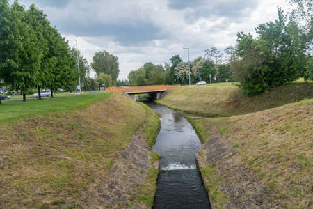 Small river Baczyna in Lubin, Poland.