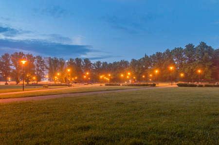 Father Jerzy Popiełuszko square in Zgorzelec, Poland at night. Stock Photo