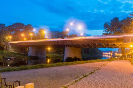 Border of Poland and Germany, bridge connecting Zgorzelec, Poland to Gorlitz, Germany at night. Stock Photo