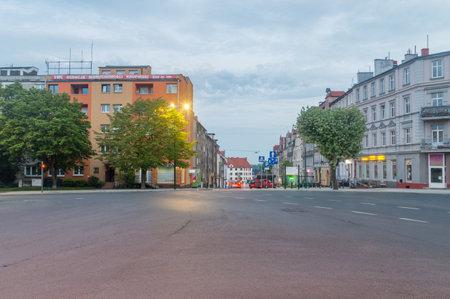 Zgorzelec, Poland - June 2, 2021: Street view in Zgorzelec in the morning.