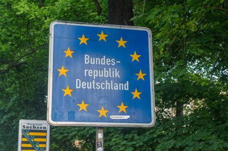 Gorlitz, Germany - June 2, 2021: Shield federal Republic of Germany.
