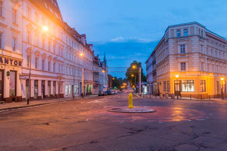 Zgorzelec, Poland - June 2, 2021: Morning view on Pilsudskiego street. Street to Germany.