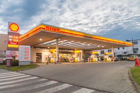 Zgorzelec, Poland - June 2, 2021: Shell gas station during sunrise. Royal Dutch Shell plc, commonly known as Shell, is a British-Dutch multinational oil and gas company.