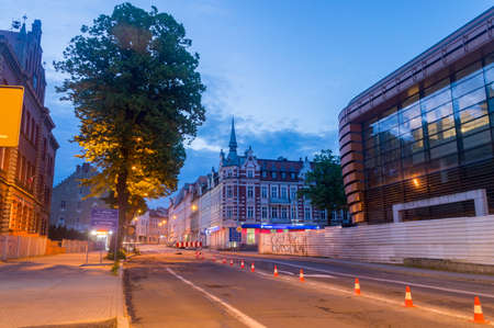 Zgorzelec, Poland - June 2, 2021: Morning view on Pilsudskiego street. Entrance street from Germany to Poland.