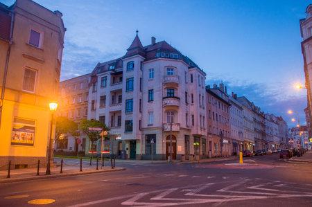 Zgorzelec, Poland - June 2, 2021: Street between old tenement houses at night. Editorial