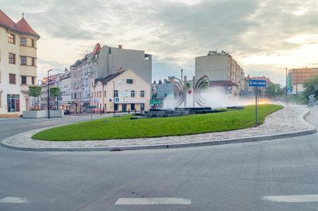 Zgorzelec, Poland - June 2, 2021: Jakob Bohne roundabout city center in the morning.