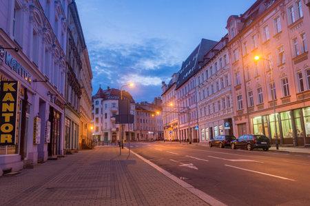 Zgorzelec, Poland - June 2, 2021: Morning view on street in city center of Zgorzelec.