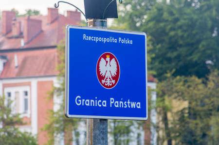 Republic of Poland border sign with Polish inscription Republic of Poland, state border.