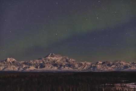 mckinley: The aurora borealis over the Alaska Range and Mt. McKinley.