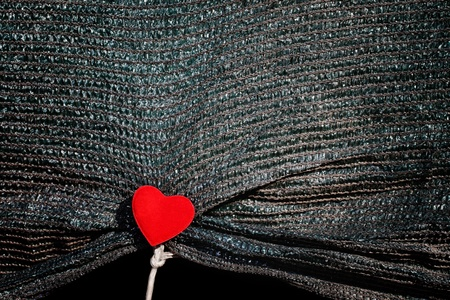Dark canvas with red heart on white rope. Stock Photo - 12026399