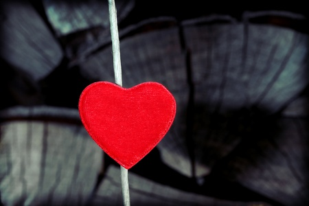 Single red heart on old gray wooden background. Stock Photo - 12365922