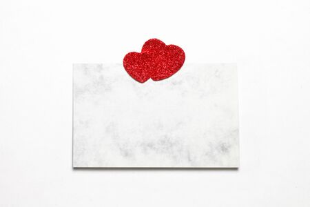 Empty love sheet with two red hearts. Stock Photo - 13252422
