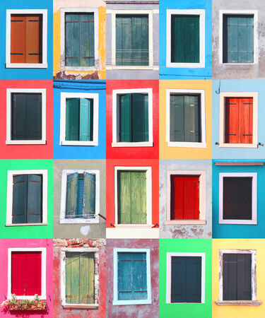 Collage of colorful windows on Burano island, Venice, Italy