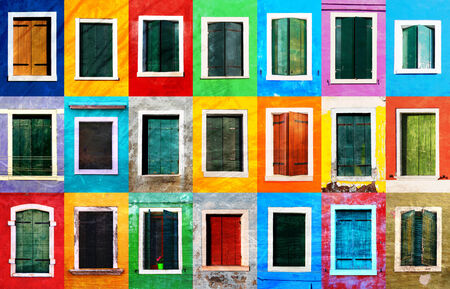 Collage of colorful grunge windows with frames on Burano island, Venice, Italy