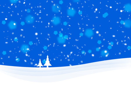 winter scene: Blue Christmas winter scene with tree illustration greeting card.
