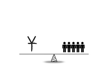 imbalance: Conceptual financial and business illustration of hand drawn weight measure balance with people on one pan and a yen sign on the other. Isolated on white.
