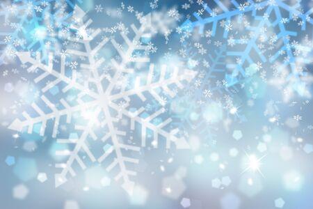 Borrosa copo de nieve azul abstracto con la ilustraci�n del fondo de la chispa de la Navidad.