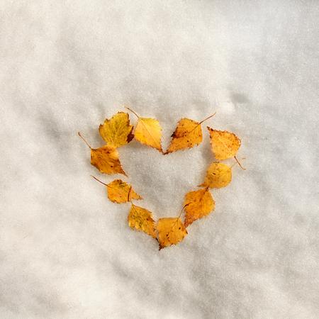 Oto�o signo hoja del coraz�n en la nieve.