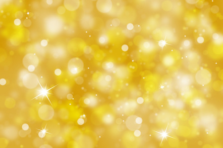 shine background: Blurry golden color abstract bokeh background with sparkle (illustration).