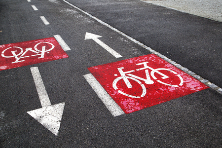 careful: Safety and careful bike path crossing signs.