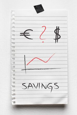 business savings: Abstract business savings graph with dollar and euro sign hand drawing (illustration) on notepad on wall.