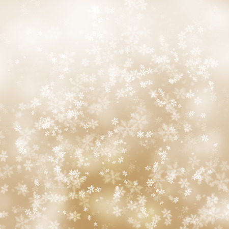 Simple soft gold light abstract snowflake Christmas illustration background. Stock Photo
